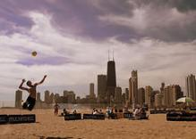 Volleyball - spike and skyline